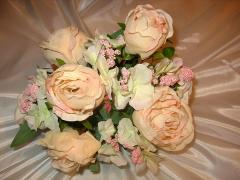 Роза букет (розовый, зеленый, желтый)