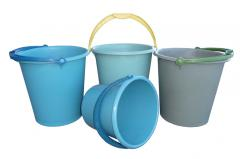 5-liter plastic buckets and 12-liter