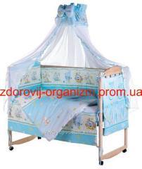 Детская постель Lux (8 Элем.) голубая (мышки...
