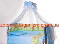 Детская постель Lux (8 Элем.) голубая (ежик...