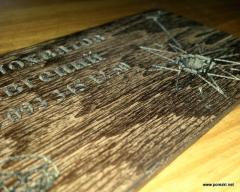 Визитная карточка из фанеры и дерева