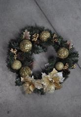 Венок из хвои рождественский 28 см. Золотой декор. Новогодние украшения.