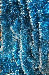 Мишура голубая серебристый кончик , длина 1.5м, диаметр 100мм .