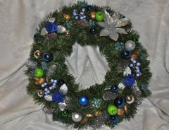 Венок еловый рождественский.Синий+серебро 50см Доставка.
