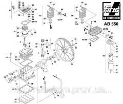 Запчасти на поршневой блок AB 550. Узел насоса AB550. Деталировка компрессора РМ3103 AB 550.