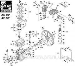 Spare parts on the piston AB 981 block. Pump AB981