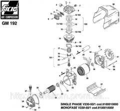 Spare parts on the piston GM 192 block. Pump GM192