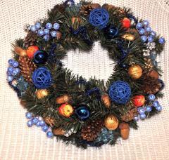 Венок хвойный рождественский синий,  диаметр...