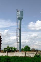 Башня водонапорная из листовой стали толщиною 4 и 6 мм, вес - 12482 кг, объем - 50 м. куб., высота - 22 м, диаметр опоры - 2000 мм.