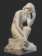"""Sculpture """"Grieving with a wreath"""
