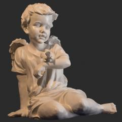 Sculpture of an angel with a sparrow