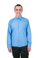 0154 A shirt blue with a long sleeve