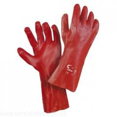 4255 Gloves with a covering of PVC of 35 cm