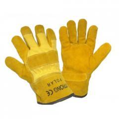 Перчатки комбинированные х/б+спилок утепленные арт.: 4298