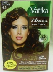 Краска для волос на основе натуральной хны дабур ватики темный коричневый 10г 1 пакет