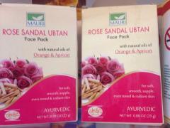 Травяная маска для лица Роза- Сандал с натуральным маслом абрикосовых косточек и апельсиновым маслом / Herbals