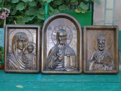 Iconostases from a tree, carved pictures an oak,
