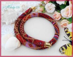 "Plait from beads ""Red Pech""."