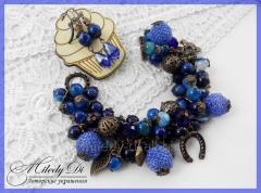 Saturated blue set from beads and Lunar Patches of