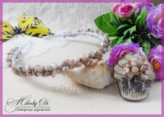 Headband and earrings from a jasper or lazurite
