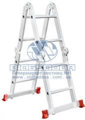 Лестница четырехсекционная алюминиевая бытовая INTERTOOL 4x2 ступени (LT-0028)