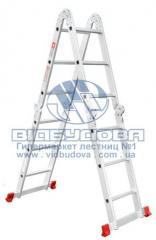 Лестница четырехсекционная алюминиевая бытовая INTERTOOL 4x3 ступени (LT-0030)