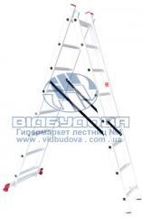 Лестница двухсекционная алюминиевая бытовая INTERTOOL 2х8 ступеней (LT-0208)