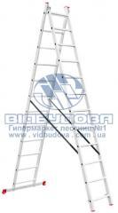 Лестница двухсекционная алюминиевая бытовая INTERTOOL 2х12 ступеней (LT-0212)
