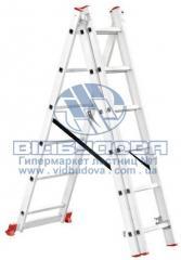 Лестница трехсекционная алюминиевая бытовая INTERTOOL 3х6 ступеней (LT-0306)