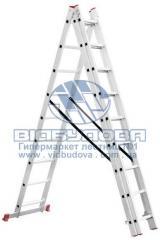 Лестница трехсекционная алюминиевая бытовая INTERTOOL 3х9 ступеней (LT-0309)