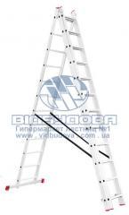 Лестница трехсекционная алюминиевая бытовая INTERTOOL 3х12 ступеней (LT-0312)
