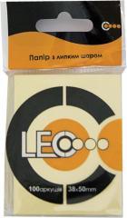 Блок бумаги с клейким слоем 38x50 мм.L1205,  жёлтый