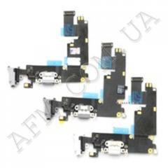 Шлейф (Flat cable) iPhone 6S с разъёмом зарядки,   коннектором наушников и микрофоном темно- серый