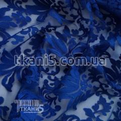 Ткань Гипюр вышивка (электро-синий)