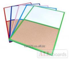 Доски DUO (пробковая+магнитная поверхность) в деревянных цветных рамах