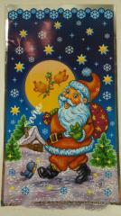 Фольгированный новогодний пакет для конфет №9 20x35 Новогодняя ночь 100 шт.