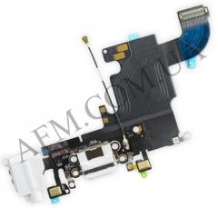 Шлейф (Flat cable) iPhone 6S с разъёмом зарядки,   коннектором наушников и микрофоном белый