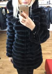 Transforming fur coat from a mink with a hood shor