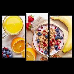 Модульная картина триптих Здоровый завтрак E101