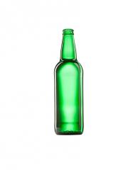 Стеклянная бутылка для пива зеленая 500 ml, PP finish