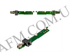 Шлейф (Flat cable) Huawei Honor 3 с разъемом наушников,   виброзвонком