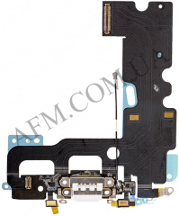 Шлейф (Flat cable) iPhone 7,   с разъёмом зарядки и микрофоном,   белый