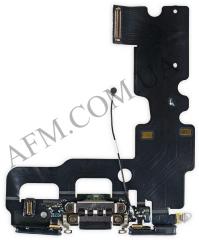 Шлейф (Flat cable) iPhone 7,   с разъёмом зарядки и микрофоном,   черный
