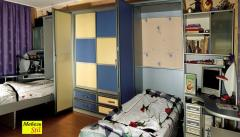 Sliding wardrobe with boxes and a case bed