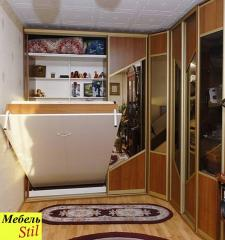 Sliding wardrobe about a case bed