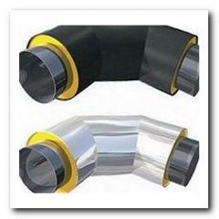 Колено теплоизолированное ППУ для стальной трубы 108/200 мм в ПЕ оболочке земля