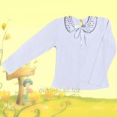 Блуза для девочек + вышивка, модель 010049304, интерлок отбеленый