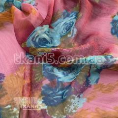 Ткань Шифон принт розы