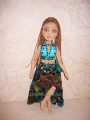 Textile doll Mulatto Aisha, author's handwork