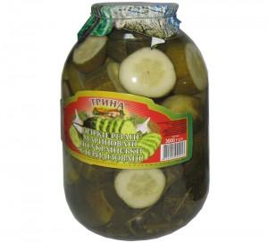 Marinated sliced cucumbers in Ukrainian